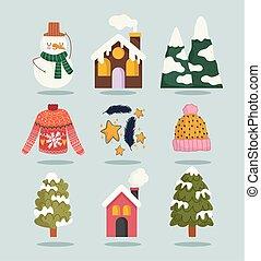 冬, 山, アイコン, 雪, 漫画, 家, 雪だるま, セット, セーター, 木