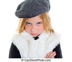 冬, 怒る, 帽子, 悲しい, ブロンド, 子供, 肖像画, 女の子, ジェスチャー, 子供