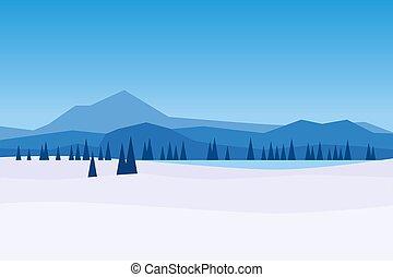 冬, 日, 氷, 川, イラスト, ベクトル, 木, ice., hills., 松, frosen, 漫画, 山, 森林地帯, 隔離された, 平ら, 雪の景色, スタイル, 湖