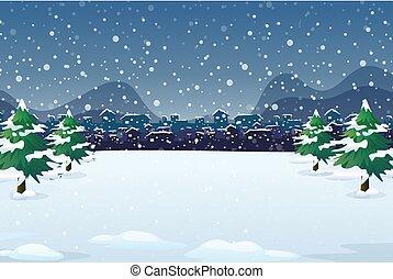 冬, 背景, 夜