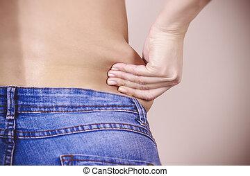 処分, 提示, 重量, 腹部, 脂肪, 手, 宣誓供述, 組織, 彼女, subcutaneous, 皮膚, 引き, flanks., 超過, 待遇