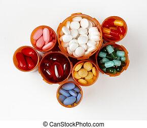 処方せん, 薬物, びん, 満たされた, カラフルである