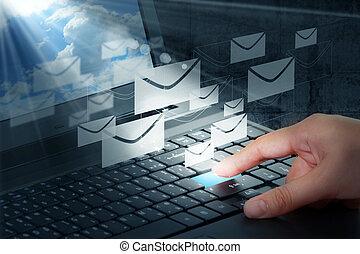 出版物, 電子メール, ボタン, 手