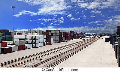 出荷, ビジネス, ロジスティックである, 土地, 輸送, エクスポート, 容器, 柵, ドック, 輸入, 貨物, 方法, 使用, 貨物