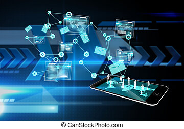 分析, イメージ, インターフェイス, 合成, 背景, データ