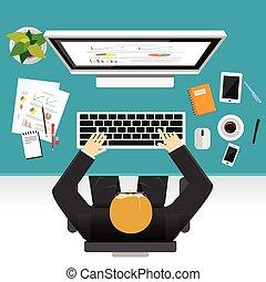 分析, ビジネスマン, 金融, 仕事, 労働者, モニタリング, 平ら, team., 仕事, 管理, ビジネス, 概念, 開発, デザイン, イラスト, 概念, illustration.