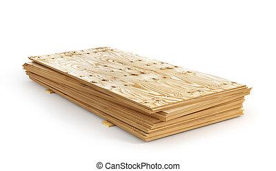 分離, plywoods, イラスト, バックグラウンド。, 白, 山, 3d
