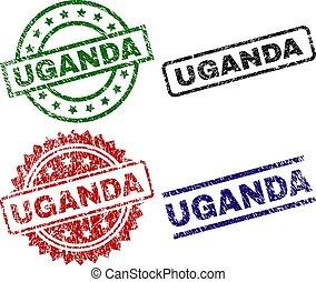 切手, ウガンダ, シール, textured, 傷つけられる