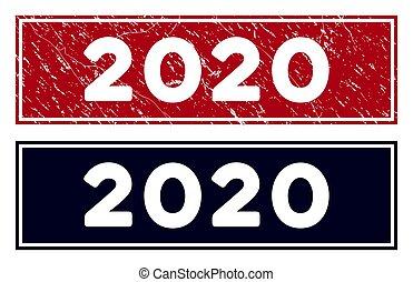 切手, グランジ, 長方形, シール, 2020
