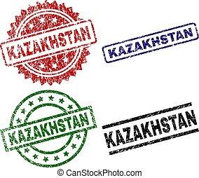 切手, シール, カザフスタン, textured, 傷つけられる
