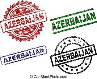 切手, シール, textured, アゼルバイジャン, 傷つけられる