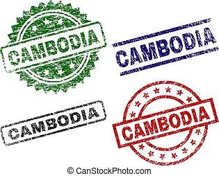 切手, シール, textured, カンボジア, 傷つけられる