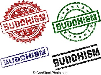 切手, シール, textured, 仏教, 傷つけられる