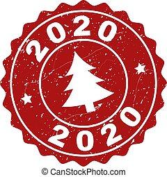 切手, モミツリー, 2020, グランジ, シール