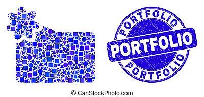 切手, 新しい, 青, 苦脳, ポートフォリオ, フォルダー, モザイク