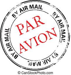 切手, avion, パー, ベクトル, グランジ