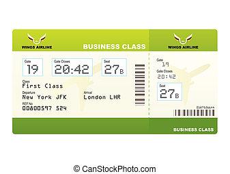 切符, 飛行機, 緑, クラス, ビジネス