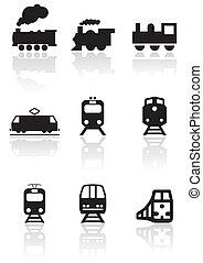 列車, シンボル, ベクトル, set.