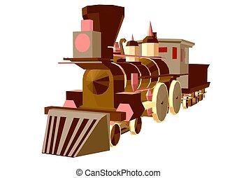 列車, 蒸気, poly, 低い