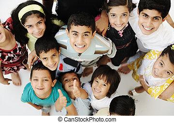 別, グループ, 群集, 競争, 年齢, 大きい, 子供, 幸せ