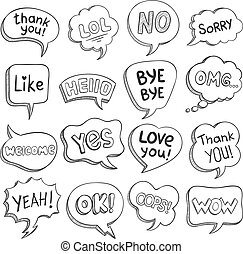 別, セット, さようなら, オーケー, 句, 対話, 感謝しなさい, words., 不足分, スケッチ, ベクトル, lol, うわーっ, 泡, スピーチ, omg, 泡, 形, メッセージ, あなた