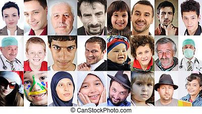 別, 人々, コラージュ, 年齢, 共通, 文化, 表現, ロット