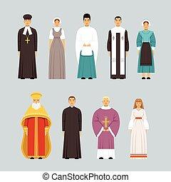 別, 人々, セット, 男性, 伝統的である, 宗教, 女性, 特徴, confessions, 宗教, 衣服