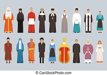 別, 人々, セット, 男性, 伝統的である, 宗教, 女性, confessions, 宗教, 衣服