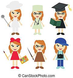 別, 6, 女の子, 専門職