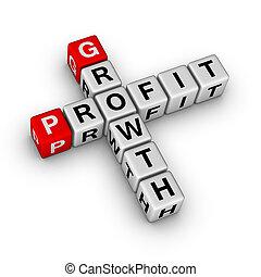 利益, クロスワードパズル, 成長
