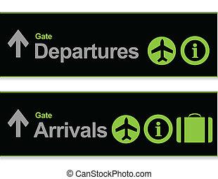 到着, シグナル, -, 空港, 出発