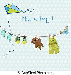 到着, 男の子, テキスト, ∥あるいは∥, シャワー, ベクトル, 場所, 赤ん坊, あなたの, カード
