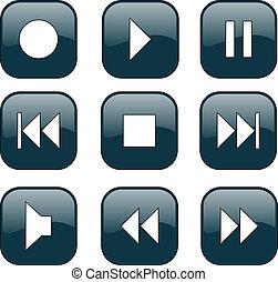 制御, ボタン, audio-video