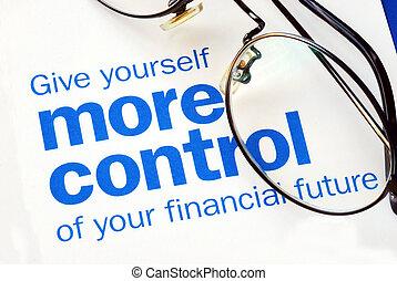 制御, 財政, フォーカス, 未来, 取得, あなたの