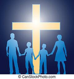 前に, キリスト教徒, 家族, 地位, 明るい, 交差点