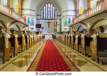 前に, 祭壇, 教会, 結婚式