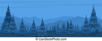 前景, 山, 風景, 木, シルエット