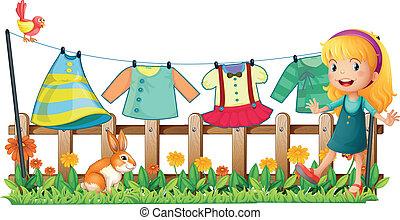 前部, 女の子, 衣服, 庭, 掛かること