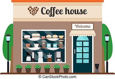 前部, 家, コーヒー, 店