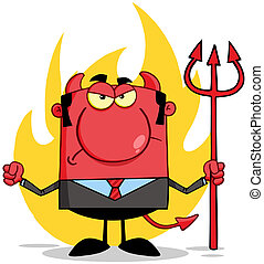 前部, 悪魔, 怒る, 炎