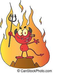 前部, 悪魔, 赤, 炎