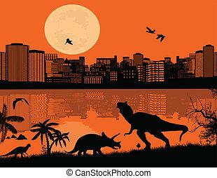 前部, 都市, 恐竜, シルエット, scape