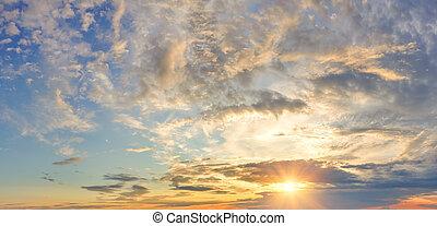 劇的, 日没, パノラマ, 空