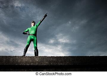 劇的, superhero, 指すこと, 背景