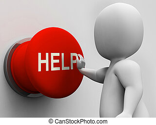 助けボタン, 援助, 援助, サポート, ショー