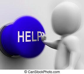 助け, サポート, 押された, 援助, 援助, ショー