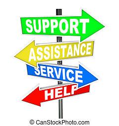 助け, サービス, ポイント, 援助, 解決, 矢, サイン, サポート