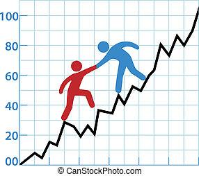 助け, ビジネス, 収益性, チャート, 人, インク, 赤