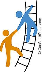 助力, はしご, 参加しなさい, の上, 人々