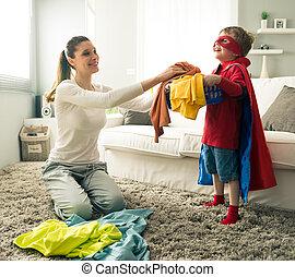 助力, わずかしか, 彼の, superhero, 母